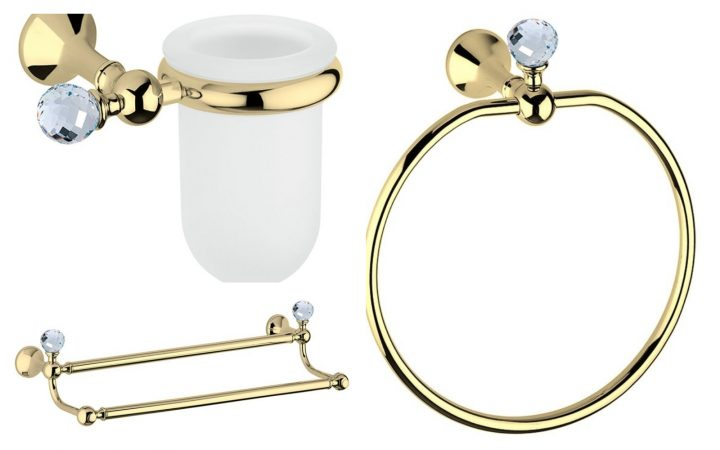Коллекция аксессуаров д/ванной Folie Swarovski Gold