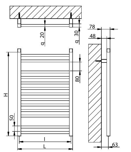 Электрический полотенцесушитель Brandoni WQD 050/075 хром